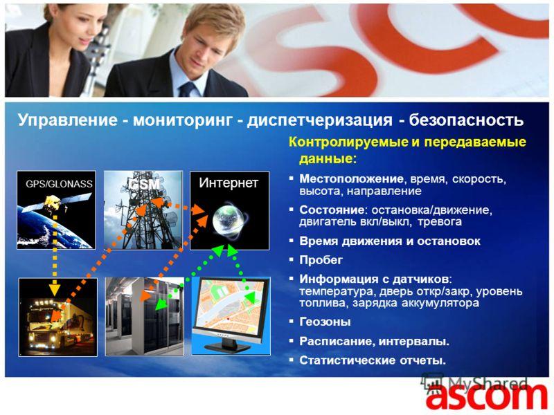 Управление - мониторинг - диспетчеризация - безопасность Интернет GPS/GLONASS GSM Контролируемые и передаваемые данные: Местоположение, время, скорость, высота, направление Состояние: остановка/движение, двигатель вкл/выкл, тревога Время движения и о