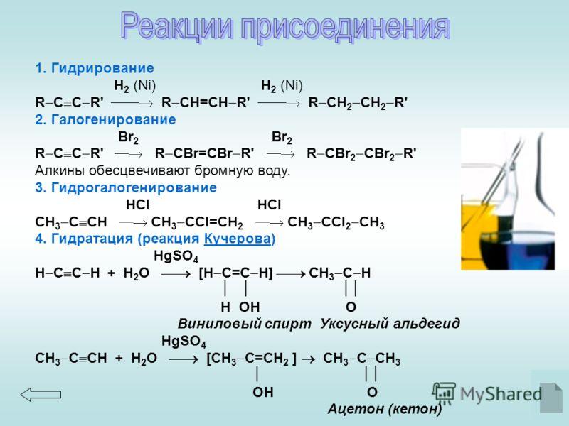 1. Гидрирование H 2 (Ni) H 2 (Ni) R C C R' R CН=CН R' R CН 2 CН 2 R' 2. Галогенирование Br 2 Br 2 R C C R' R CBr=CBr R' R CBr 2 CBr 2 R' Алкины обесцвечивают бромную воду. 3. Гидрогалогенирование HCl HCl CH 3 C CH CH 3 CCl=CH 2 CH 3 CCl 2 CH 3 4. Гид