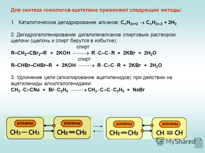 Для синтеза гомологов ацетилена применяют следующие методы: 1.Каталитическое дегидрирование алканов: С n H 2n+2 C n H 2n-2 + 2H 2 2. Дегидрогалогенирование дигалогеналканов спиртовым раствором щелочи (щелочь и спирт берутся в избытке): спирт R–CH 2 –