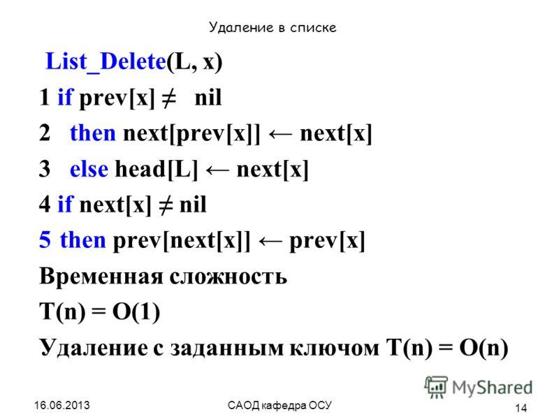 16.06.2013САОД кафедра ОСУ 14 Удаление в списке List_Delete(L, х) 1 if prev[x] nil 2 then next[prev[x]] next[x] 3 else head[L] next[x] 4 if next[x] nil 5then prev[next[x]] prev[x] Временная сложность T(n) = O(1) Удаление с заданным ключом T(n) = O(n)