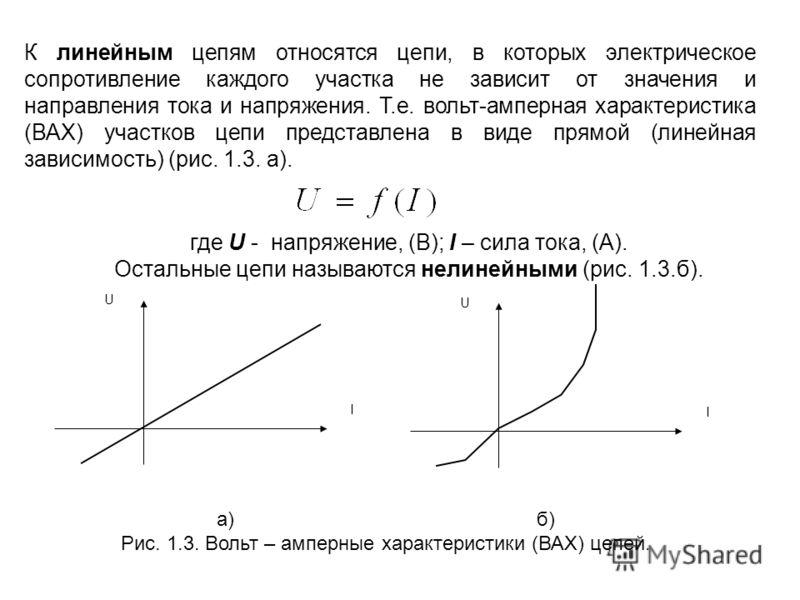 К линейным цепям относятся цепи, в которых электрическое сопротивление каждого участка не зависит от значения и направления тока и напряжения. Т.е. вольт-амперная характеристика (ВАХ) участков цепи представлена в виде прямой (линейная зависимость) (р