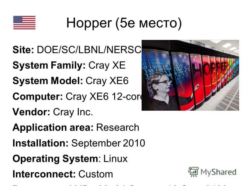 Hopper (5е место) Site: DOE/SC/LBNL/NERSC System Family: Cray XE System Model: Cray XE6 Computer: Cray XE6 12-core 2.1 GHz Vendor: Cray Inc. Application area: Research Installation: September 2010 Operating System: Linux Interconnect: Custom Processo