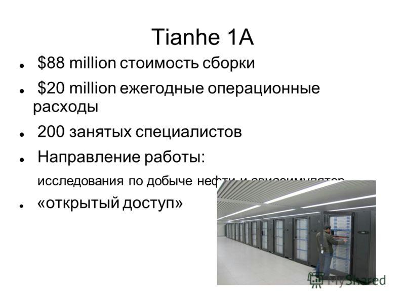 Tianhe 1A $88 million стоимость сборки $20 million ежегодные операционные расходы 200 занятых специалистов Направление работы: исследования по добыче нефти и авиасимулятор «открытый доступ»