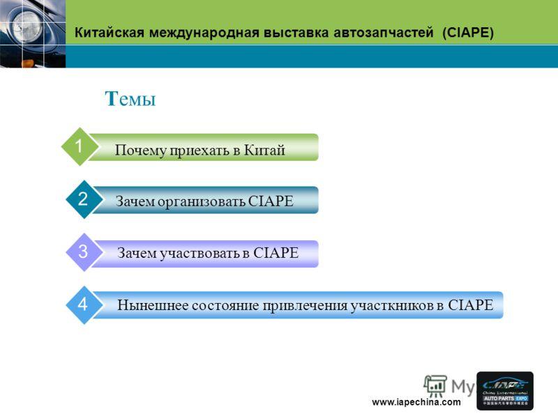 Китайская международная выставка автозапчастей (CIAPE) www.iapechina.com Почему приехать в Китай 1 Зачем организовать CIAPE 2 Зачем участвовать в CIAPE 3 Hынешнее состояние привлечения участкников в CIAPE 4 Tемы