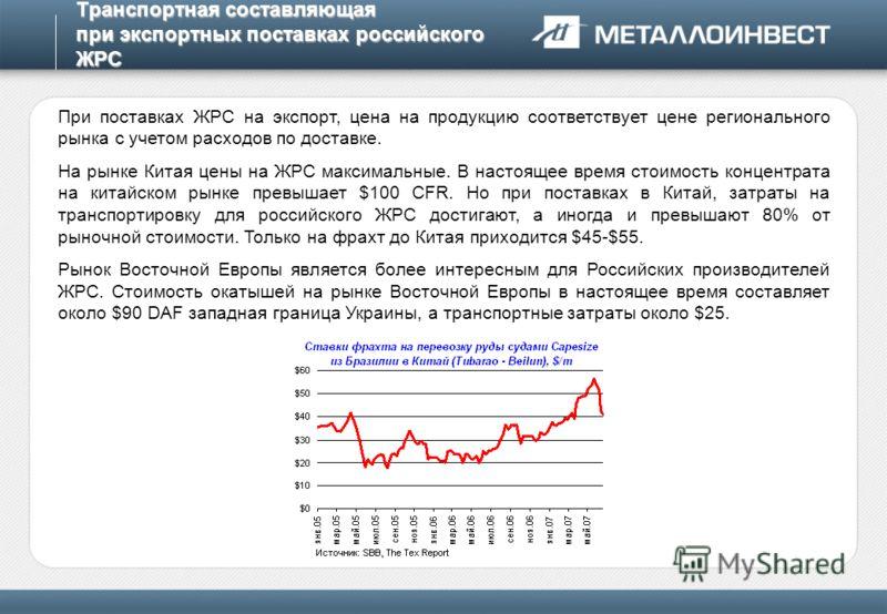 Транспортная составляющая при экспортных поставках российского ЖРС При поставках ЖРС на экспорт, цена на продукцию соответствует цене регионального рынка с учетом расходов по доставке. На рынке Китая цены на ЖРС максимальные. В настоящее время стоимо