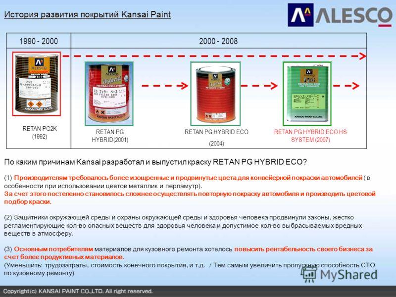 1990 - 20002000 - 2008 RETAN PG2K (1992) RETAN PG HYBRID(2001) RETAN PG HYBRID ECO (2004) RETAN PG HYBRID ECO HS SYSTEM (2007) (1) Производителям требовалось более изощренные и продвинутые цвета для конвейерной покраски автомобилей ( в особенности пр