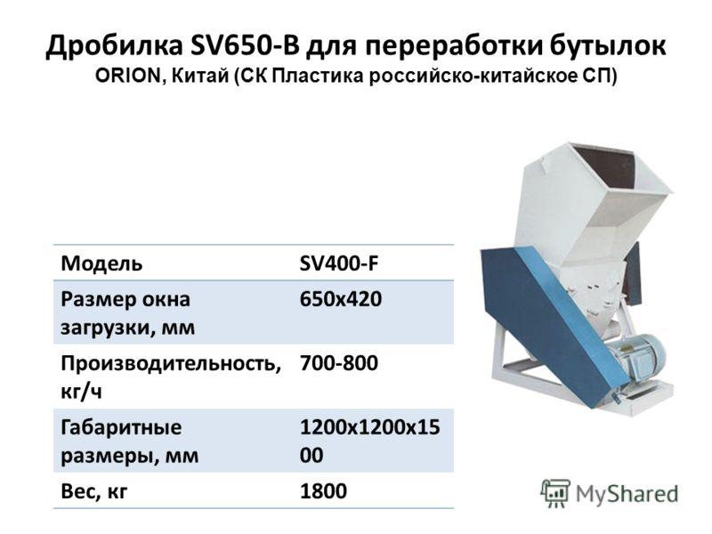 Дробилка SV650-B для переработки бутылок ORION, Китай (СК Пластика российско-китайское СП) МодельSV400-F Размер окна загрузки, мм 650x420 Производительность, кг/ч 700-800 Габаритные размеры, мм 1200x1200x15 00 Вес, кг1800
