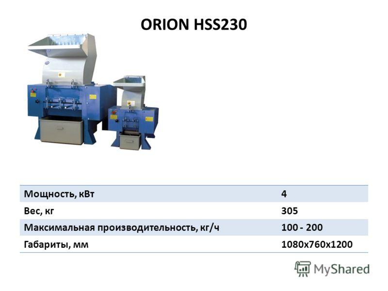 ORION HSS230 Мощность, кВт4 Вес, кг305 Максимальная производительность, кг/ч100 - 200 Габариты, мм1080х760х1200