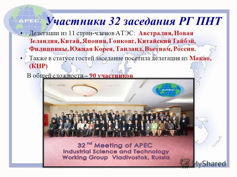 Участники 32 заседания РГ ПНТ Делегации из 11 стран-членов АТЭС: Австралия, Новая Зеландия, Китай, Япония, Гонконг, Китайский Тайбэй, Филиппины, Южная Корея, Таиланд, Вьетнам, Россия. Также в статусе гостей заседание посетила делегация из Макао, (КНР