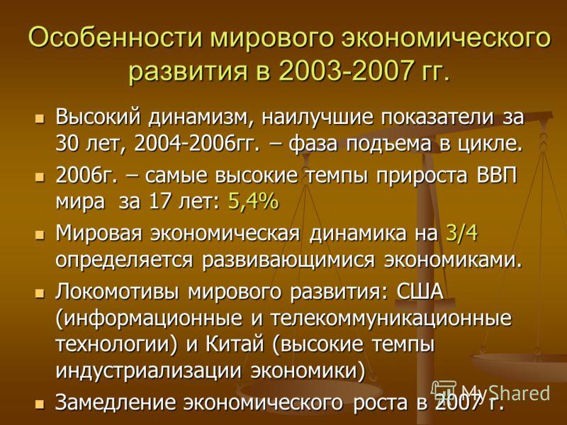 Особенности мирового экономического развития в 2003-2007 гг. Высокий динамизм, наилучшие показатели за 30 лет, 2004-2006гг. – фаза подъема в цикле. Высокий динамизм, наилучшие показатели за 30 лет, 2004-2006гг. – фаза подъема в цикле. 2006г. – самые
