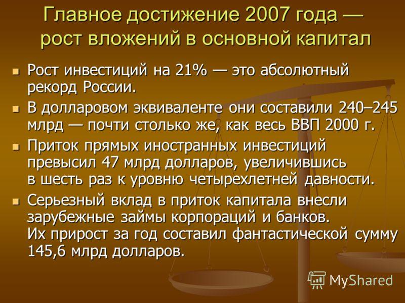 Главное достижение 2007 года рост вложений в основной капитал Рост инвестиций на 21% это абсолютный рекорд России. Рост инвестиций на 21% это абсолютный рекорд России. В долларовом эквиваленте они составили 240–245 млрд почти столько же, как весь ВВП