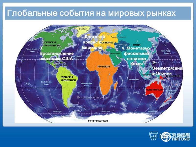 Глобальные события на мировых рынках 1. Долговой кризис в Еврозоне 3. Восстановление экономики США 2. Землетрясения в Японии 4. Монетарно- фискальная политика Китая