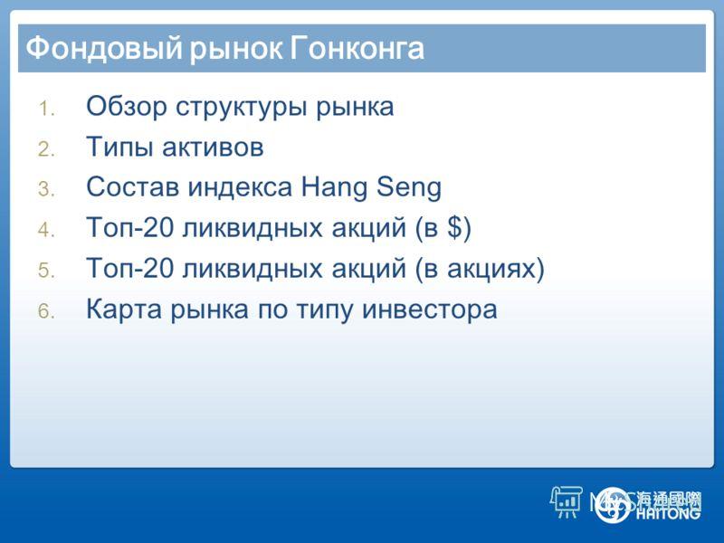 1. Обзор структуры рынка 2. Типы активов 3. Состав индекса Hang Seng 4. Топ-20 ликвидных акций (в $) 5. Топ-20 ликвидных акций (в акциях) 6. Карта рынка по типу инвестора