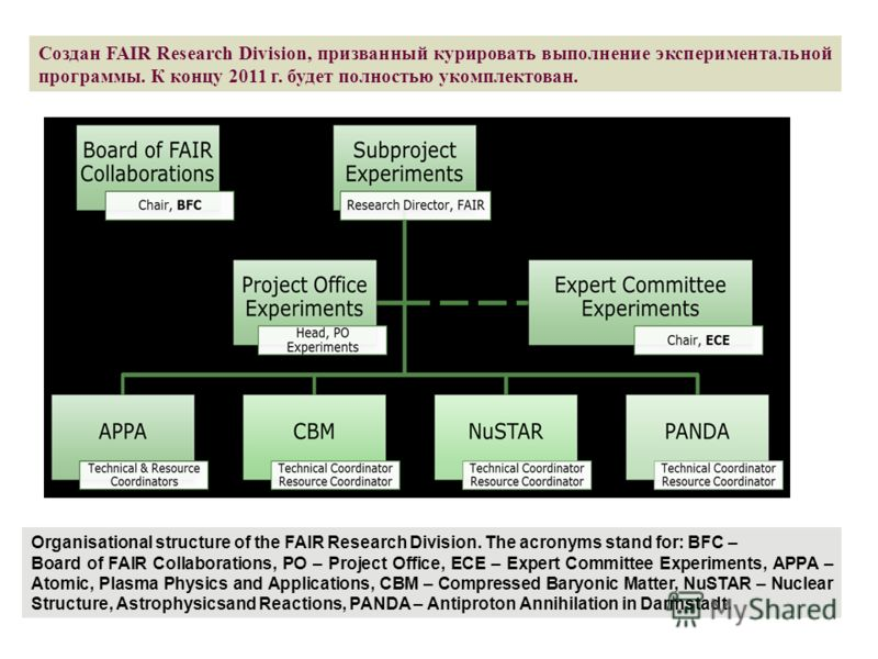 Organisational structure of the FAIR Research Division. The acronyms stand for: BFC – Board of FAIR Collaborations, PO – Project Office, ECE – Expert Committee Experiments, APPA – Atomic, Plasma Physics and Applications, CBM – Compressed Baryonic Mat