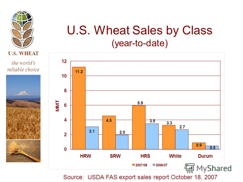 U.S. WHEAT the worlds reliable choice U.S. Wheat Sales by Class (year-to-date) Source: USDA FAS export sales report October 18, 2007