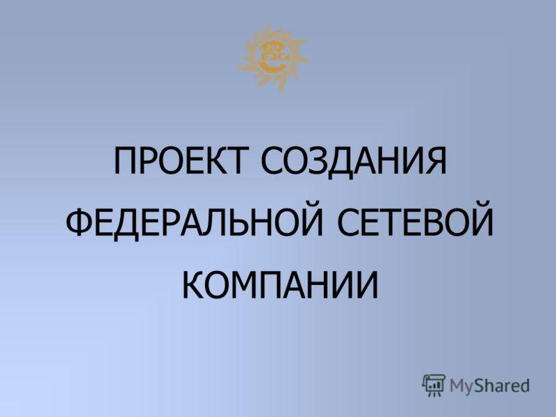ПРОЕКТ СОЗДАНИЯ ФЕДЕРАЛЬНОЙ СЕТЕВОЙ КОМПАНИИ
