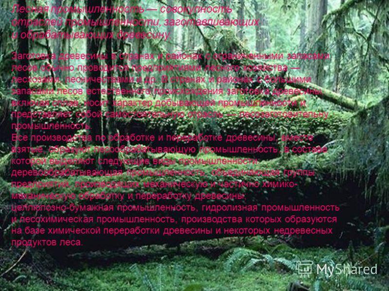 Лесная промышленность совокупность отраслей промышленности, заготавливающих и обрабатывающих древесину. Заготовка древесины в странах и районах с ограниченными запасами лесов обычно проводится предприятиями лесного хозяйства лесхозами, лесничествами