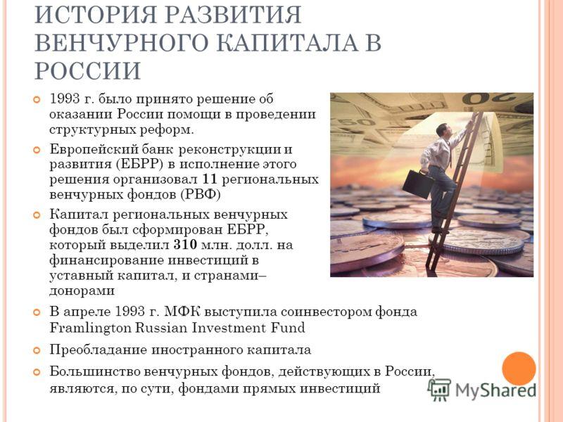 ИСТОРИЯ РАЗВИТИЯ ВЕНЧУРНОГО КАПИТАЛА В РОССИИ 1993 г. было принято решение об оказании России помощи в проведении структурных реформ. Европейский банк реконструкции и развития (ЕБРР) в исполнение этого решения организовал 11 региональных венчурных фо