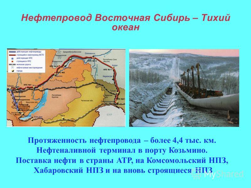 Нефтепровод Восточная Сибирь – Тихий океан Протяженность нефтепровода – более 4,4 тыс. км. Нефтеналивной терминал в порту Козьмино. Поставка нефти в страны АТР, на Комсомольский НПЗ, Хабаровский НПЗ и на вновь строящиеся НПЗ