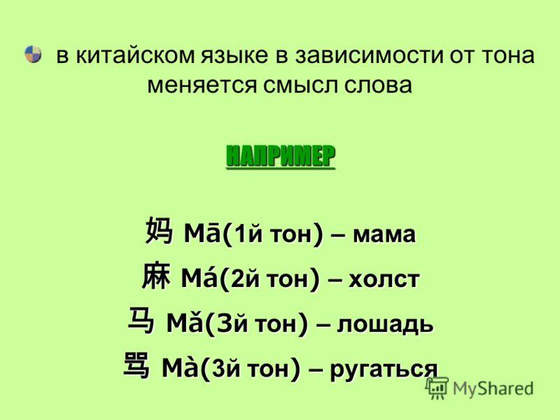 в китайском языке в зависимости от тона меняется смысл словаНАПРИМЕР Mā(1й тон) – мама Mā(1й тон) – мама Má(2й тон) – холст Má(2й тон) – холст Mǎ(3й тон) – лошадь Mǎ(3й тон) – лошадь Mà(3й тон) – ругаться Mà(3й тон) – ругаться