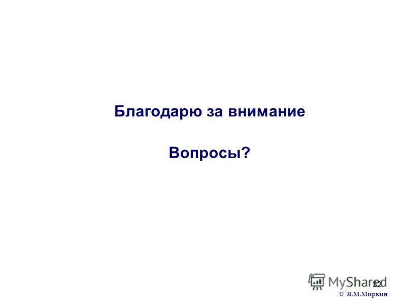 32 Благодарю за внимание Вопросы? © Я.М.Миркин