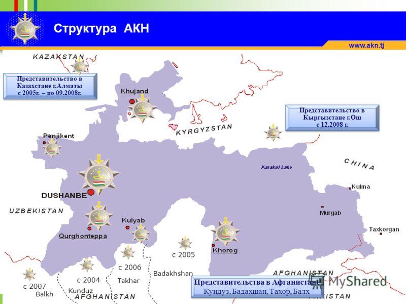 1999 2009 www.akn.tj Badakhshan Takhar Kunduz Balkh Представительство в Казахстане г.Алматы с 2005г. – по 09.2008г. Представительства в Афганистане Кундуз, Бадахшан, Тахор, Балх Представительства в Афганистане Кундуз, Бадахшан, Тахор, Балх c 2005 c 2