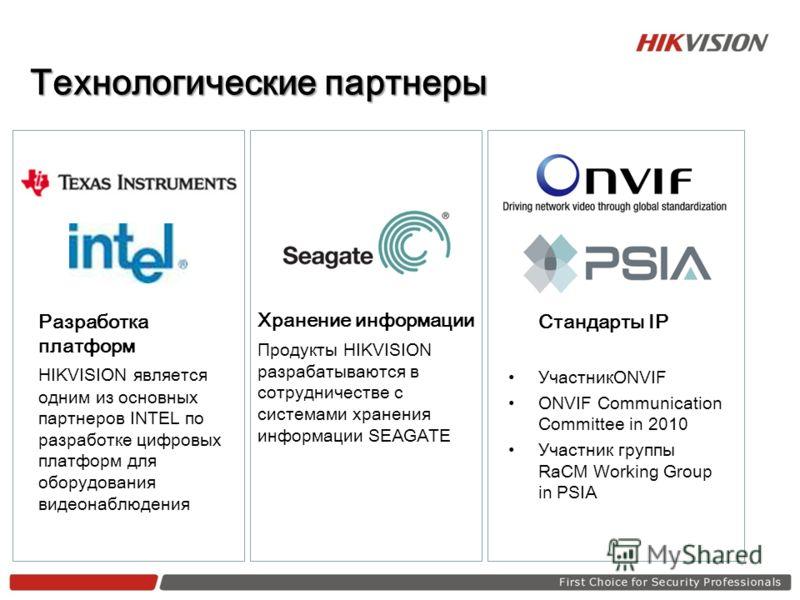 Технологические партнеры Разработка платформ HIKVISION является одним из основных партнеров INTEL по разработке цифровых платформ для оборудования видеонаблюдения Стандарты IP УчастникONVIF ONVIF Communication Committee in 2010 Участник группы RaCM W