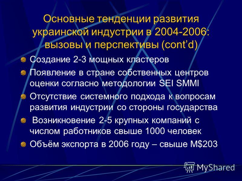 Основные тенденции развития украинской индустрии в 2004-2006: вызовы и перспективы (contd) Создание 2-3 мощных кластеров Появление в стране собственных центров оценки согласно методологии SEI SMMI Отсутствие системного подхода к вопросам развития инд