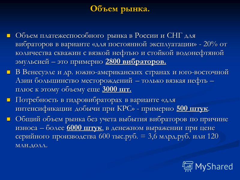 Объем рынка. Объем платежеспособного рынка в России и СНГ для вибраторов в варианте «для постоянной эксплуатации» - 20% от количества скважин с вязкой нефтью и стойкой водонефтяной эмульсией – это примерно 2800 вибраторов. Объем платежеспособного рын