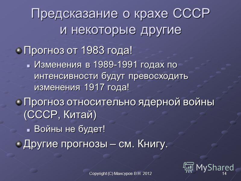 14Copyright (C) Мансуров В.Н. 2012 Предсказание о крахе СССР и некоторые другие Прогноз от 1983 года! Изменения в 1989-1991 годах по интенсивности будут превосходить изменения 1917 года! Изменения в 1989-1991 годах по интенсивности будут превосходить