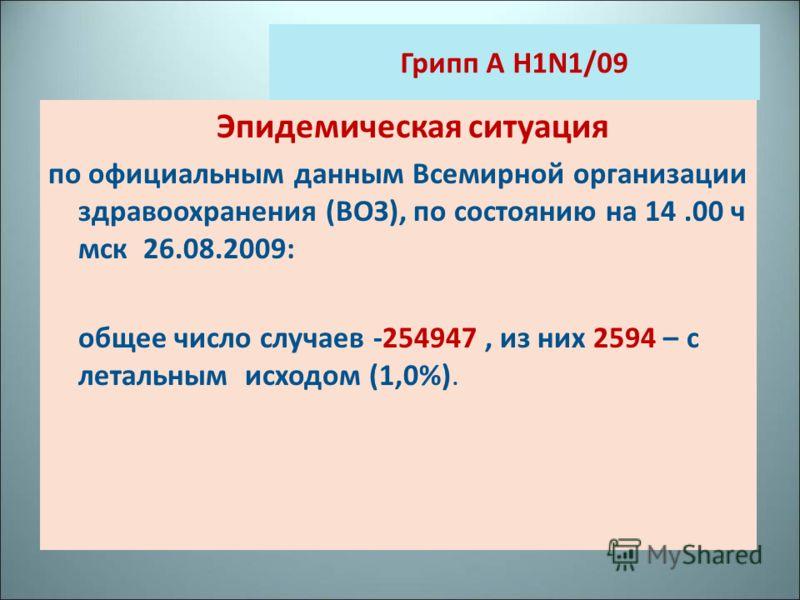 Грипп A H1N1/09 Эпидемическая ситуация по официальным данным Всемирной организации здравоохранения (ВОЗ), по состоянию на 14.00 ч мск 26.08.2009: общее число случаев -254947, из них 2594 – с летальным исходом (1,0%).