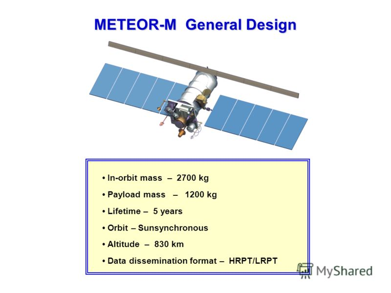 METEOR-M General Design In-orbit mass – 2700 kg Payload mass – 1200 kg Lifetime – 5 years Orbit – Sunsynchronous Altitude – 830 km Data dissemination format – HRPT/LRPT