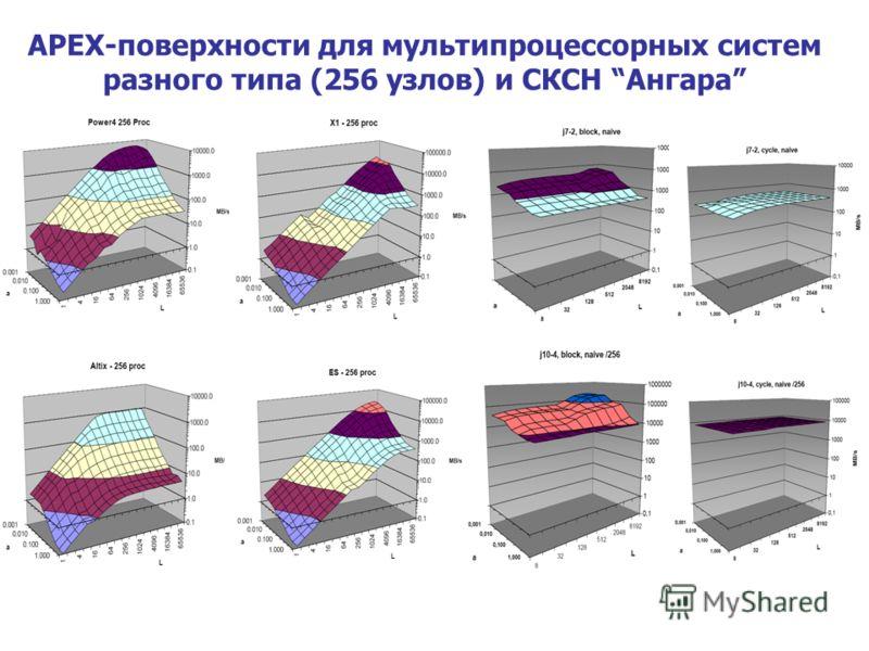 APEX-поверхности для мультипроцессорных систем разного типа (256 узлов) и СКСН Ангара