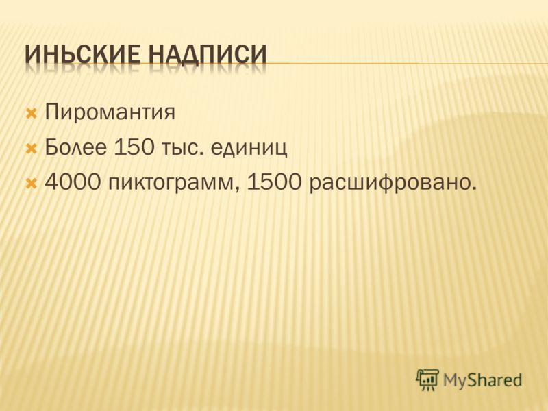 Пиромантия Более 150 тыс. единиц 4000 пиктограмм, 1500 расшифровано.