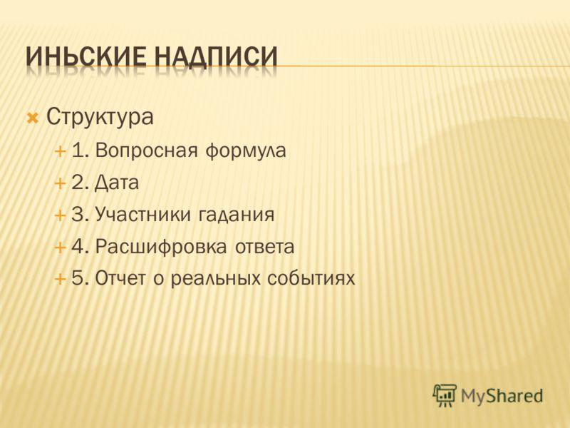 Структура 1. Вопросная формула 2. Дата 3. Участники гадания 4. Расшифровка ответа 5. Отчет о реальных событиях