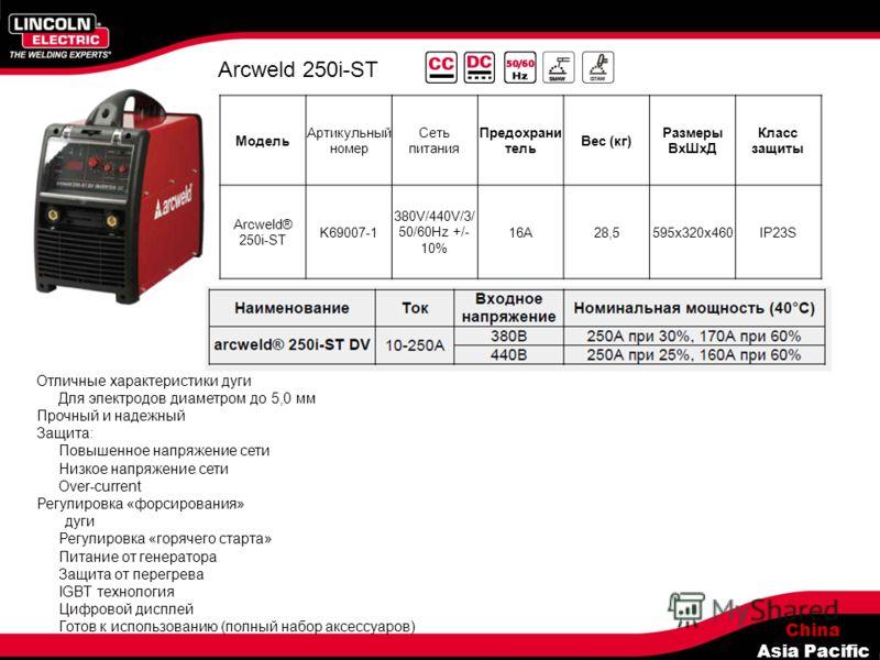 China Asia Pacific Arcweld 250i-ST Модель Артикульный номер Сеть питания Предохрани тель Вес (кг) Размеры ВхШхД Класс защиты Arcweld® 250i-ST K69007-1 380V/440V/3/ 50/60Hz +/- 10% 16A28,5595x320x460IP23S Отличные характеристики дуги Для электродов ди