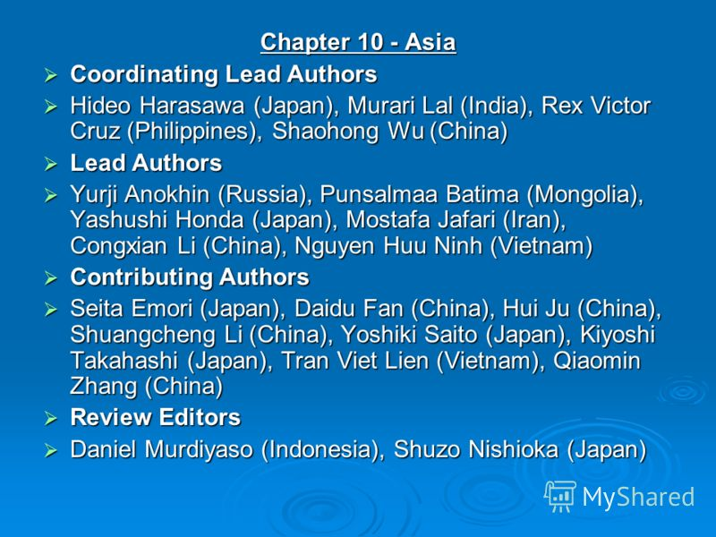 Chapter 10 - Asia Coordinating Lead Authors Coordinating Lead Authors Hideo Harasawa (Japan), Murari Lal (India), Rex Victor Cruz (Philippines), Shaohong Wu (China) Hideo Harasawa (Japan), Murari Lal (India), Rex Victor Cruz (Philippines), Shaohong W