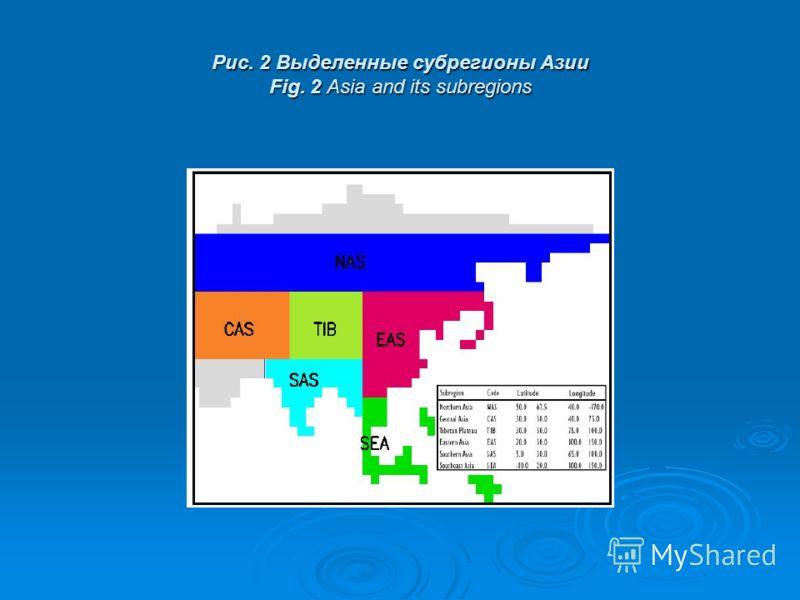 Рис. 2 Выделенные субрегионы Азии Fig. 2 Asia and its subregions
