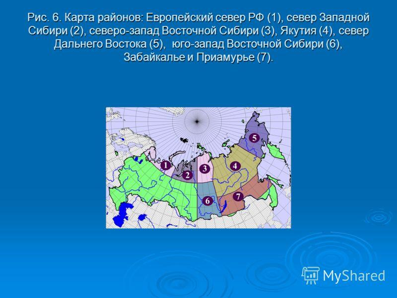 Рис. 6. Карта районов: Европейский север РФ (1), север Западной Сибири (2), северо-запад Восточной Сибири (3), Якутия (4), север Дальнего Востока (5), юго-запад Восточной Сибири (6), Забайкалье и Приамурье (7).