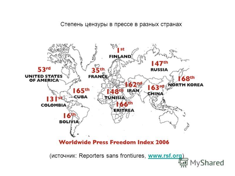 Степень цензуры в прессе в разных странах (источник: Reporters sans frontiures, www.rsf.org)www.rsf.org