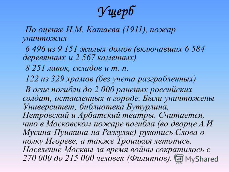 Ущерб По оценке И.М. Катаева (1911), пожар уничтожил 6 496 из 9 151 жилых домов (включавших 6 584 деревянных и 2 567 каменных) 8 251 лавок, складов и т. п. 122 из 329 храмов (без учета разграбленных) В огне погибли до 2 000 раненых российских солдат,