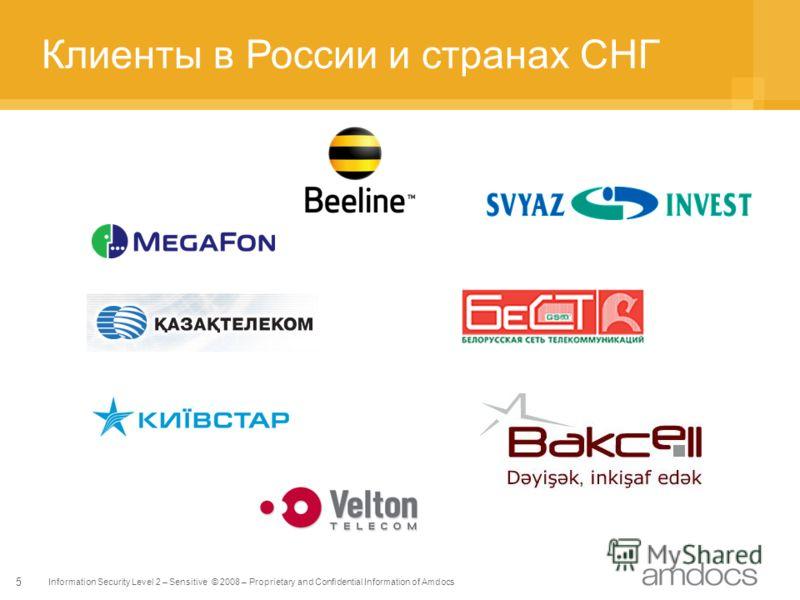 Information Security Level 2 – Sensitive © 2008 – Proprietary and Confidential Information of Amdocs 5 Клиенты в России и странах СНГ