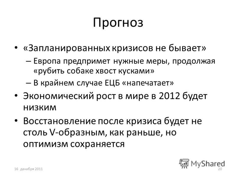 Прогноз «Запланированных кризисов не бывает» – Европа предпримет нужные меры, продолжая «рубить собаке хвост кусками» – В крайнем случае ЕЦБ «напечатает» Экономический рост в мире в 2012 будет низким Восстановление после кризиса будет не столь V-обра