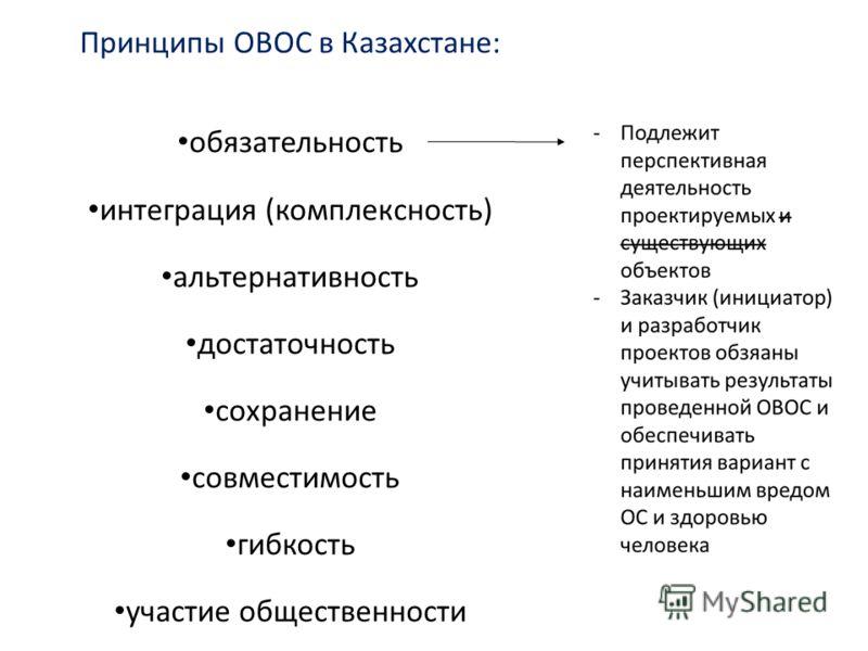 Принципы ОВОС в Казахстане: обязательность интеграция (комплексность) альтернативность достаточность сохранение совместимость гибкость участие общественности