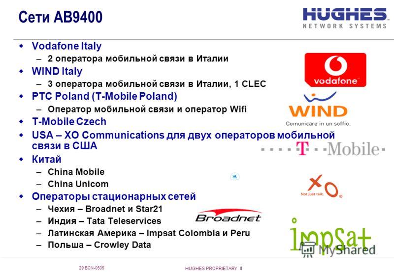 HUGHES PROPRIETARY II 29 BCN-0505 Vodafone Italy –2 оператора мобильной связи в Италии WIND Italy –3 оператора мобильной связи в Италии, 1 CLEC PTC Poland (T-Mobile Poland) –Оператор мобильной связи и оператор Wifi T-Mobile Czech USA – XO Communicati