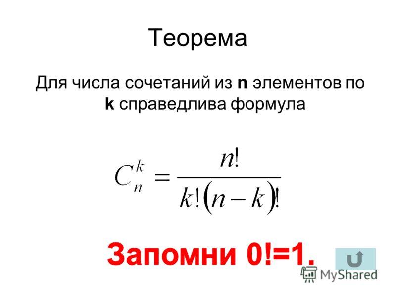 Теорема Для числа сочетаний из n элементов по k справедлива формула