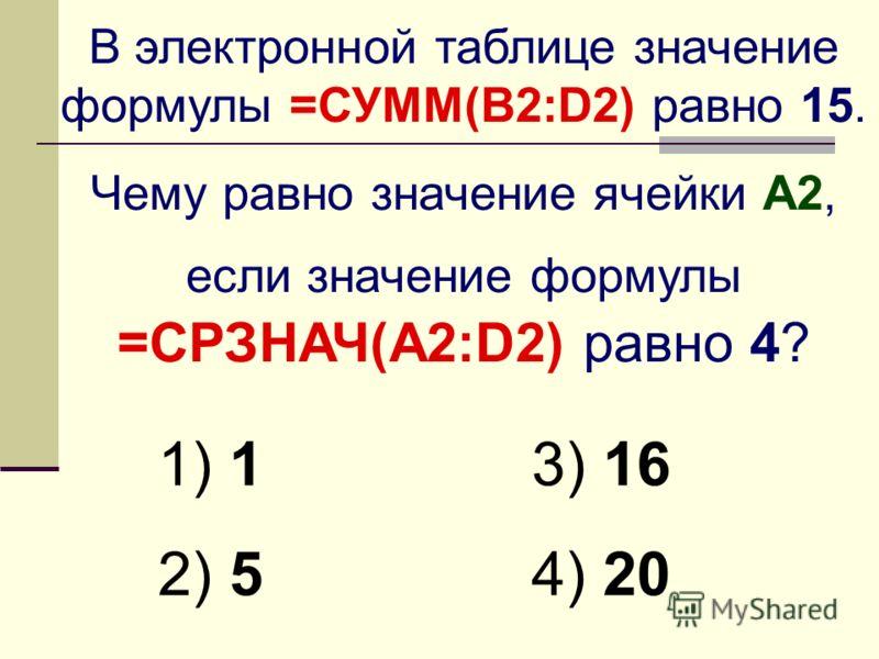 В электронной таблице значение формулы =СУММ(B2:D2) равно 15. Чему равно значение ячейки A2, если значение формулы =СРЗНАЧ(A2:D2) равно 4? 1) 1 2) 5 3) 16 4) 20