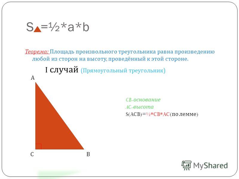 S =½*a*b Теорема : Площадь произвольного треугольника равна произведению любой из сторон на высоту, проведённый к этой стороне. I случай ( Прямоугольный треугольник ) CB- основание AC- высота S(ACB)=½*CB*AC( по лемме )