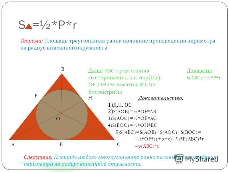 S =½*P*r Теорема: Площадь треугольника равна половине произведения периметра на радиус вписанной окружности. Дано: ABC -треугольник со сторонами a, b, c ; окр( O,r ) ; OF,OH,OE- высоты; BO,AO- биссектрисы Доказать: S(ABC)=½*P*r Доказательство: 1)Д.П.