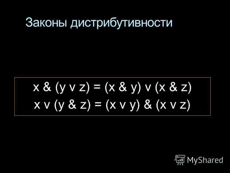 Законы дистрибутивности x & (у v z) = (x & у) v (x & z) x v (у & z) = (x v у) & (x v z)